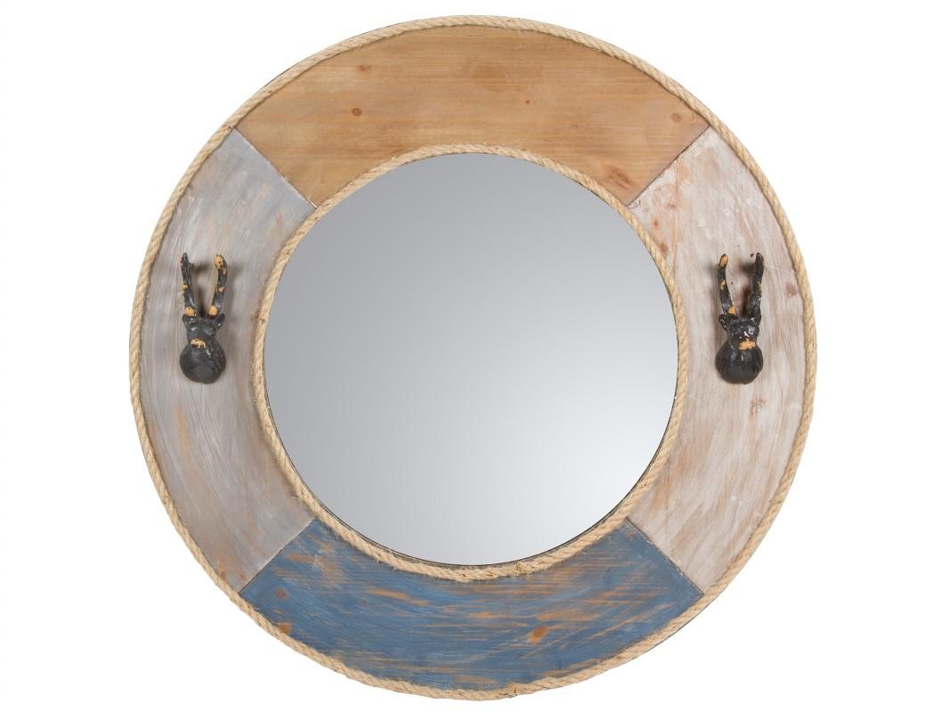 Espejo vintage redondo con marco de metal de colores for Espejo redondo con marco