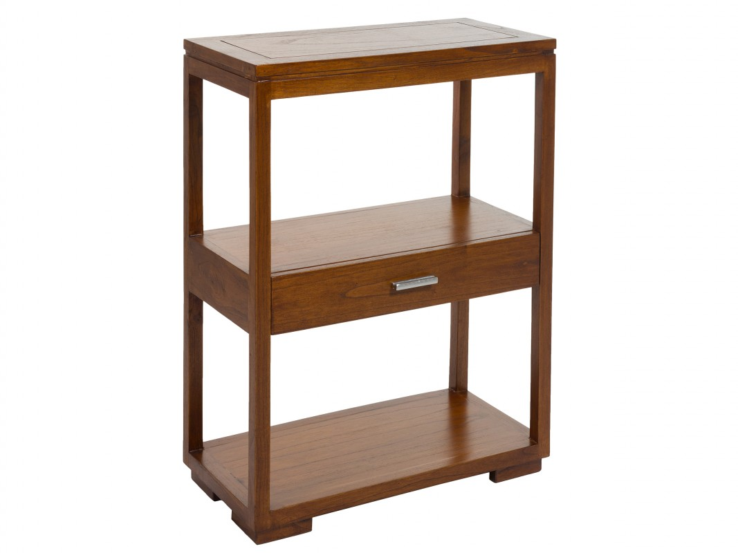 Mueble auxiliar de madera maciza con caj n para sal n o for Mueble recibidor madera