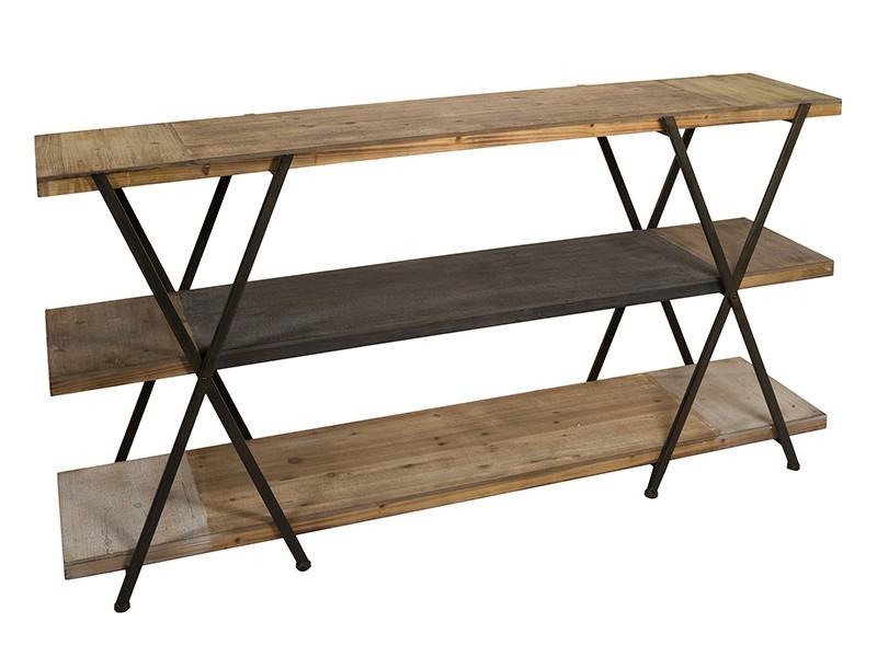 Estanter a baja de forja y madera de abeto estilo industrial - Estanteria forja ...