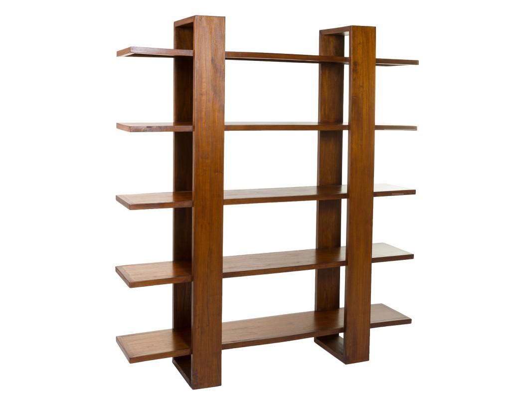 Estanter a abierta de madera de acacia color nogal - Estanterias de madera para libros ...