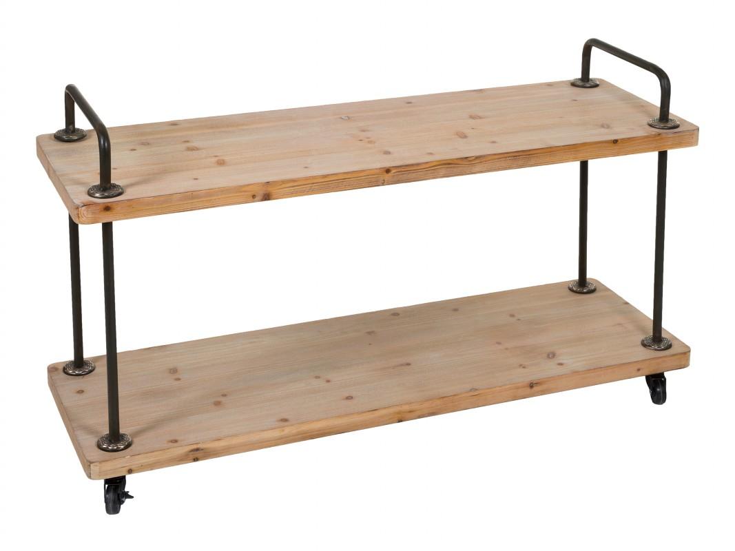 Anaqueles bajos con ruedas de madera y forja estanter as - Estanterias pequenas de madera ...