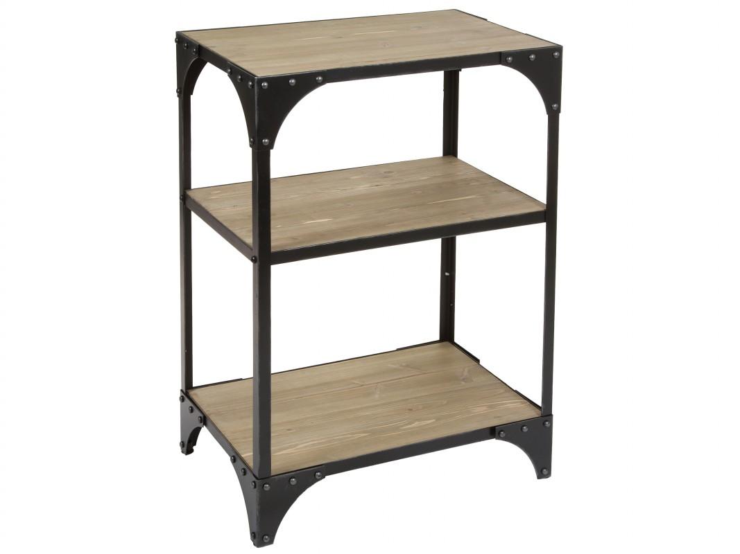 estanter a met lica peque a con estantes de madera de abeto