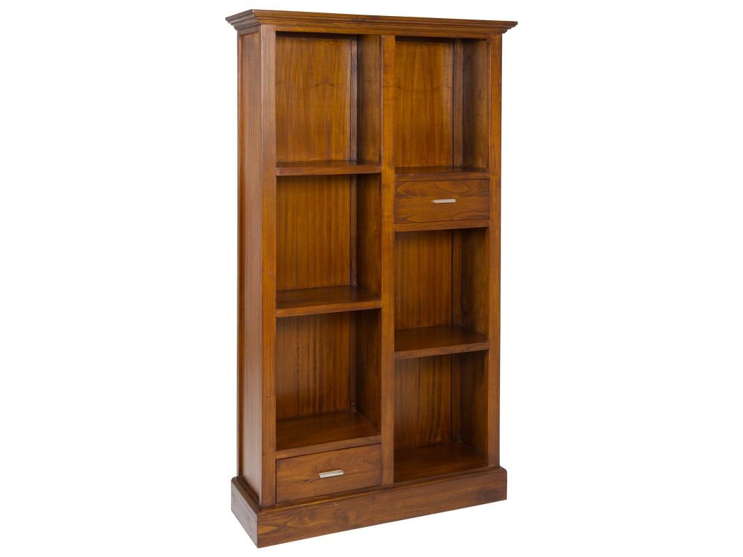 Librer a de madera estilo colonial con dos cajones - Libreria de madera ...