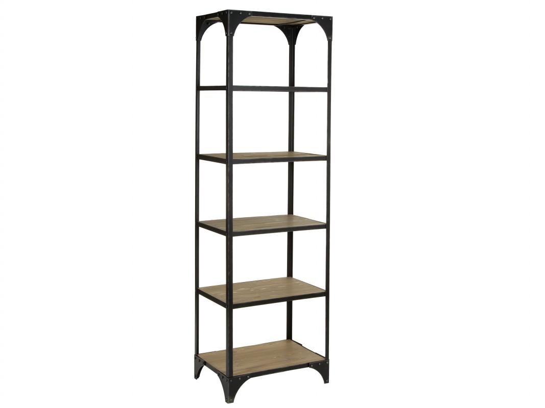 Estanter a alta y estrecha industrial de hierro y madera for Muebles de efecto industrial