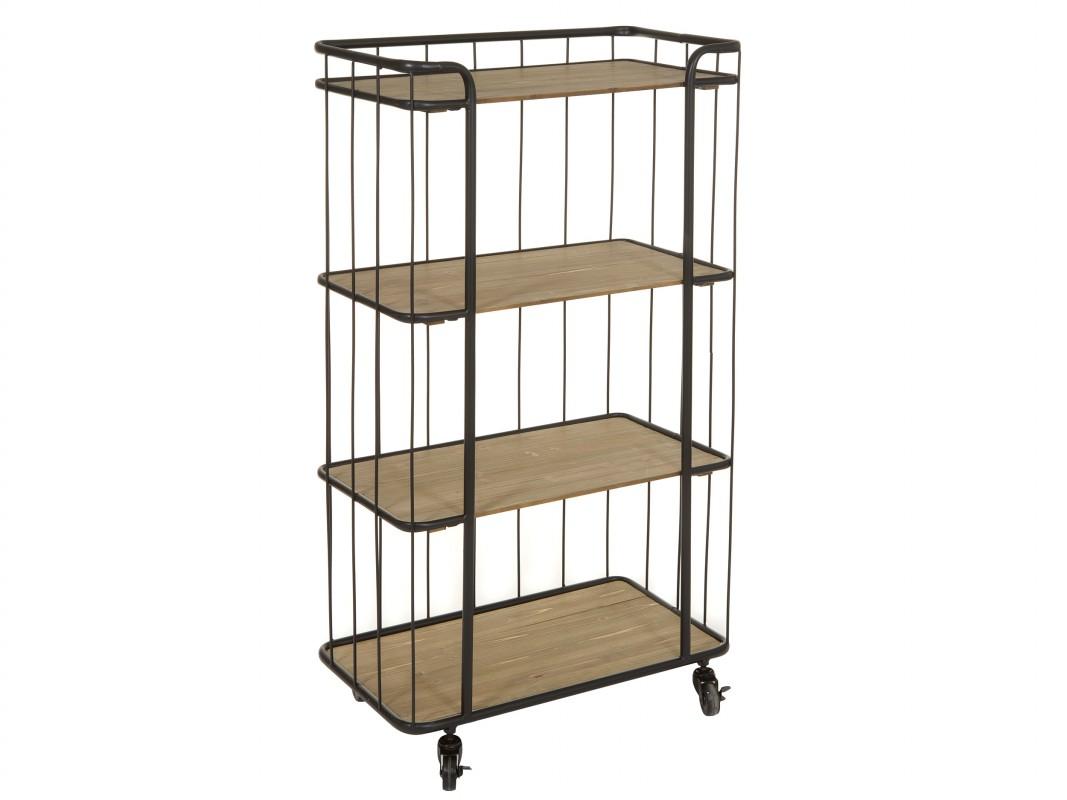 Carrito estanter a para cocina de hierro y madera de abeto for Estanteria auxiliar cocina