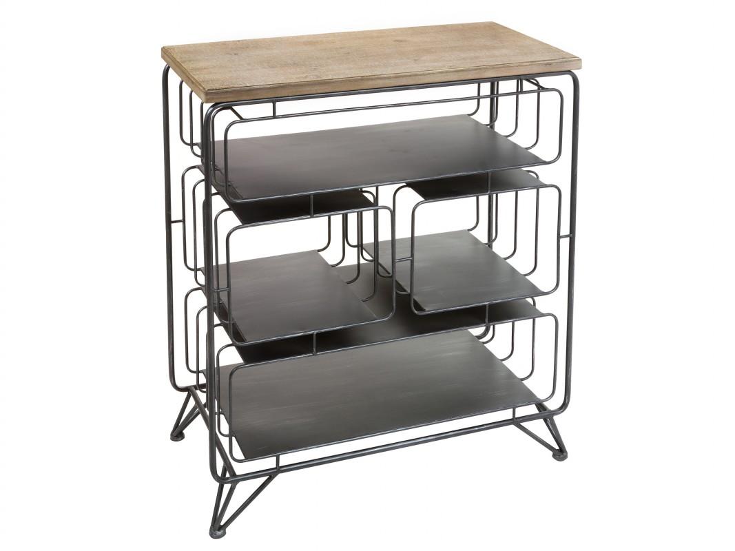 Consola estanter a industrial de forja y madera de abeto for Consola estilo industrial