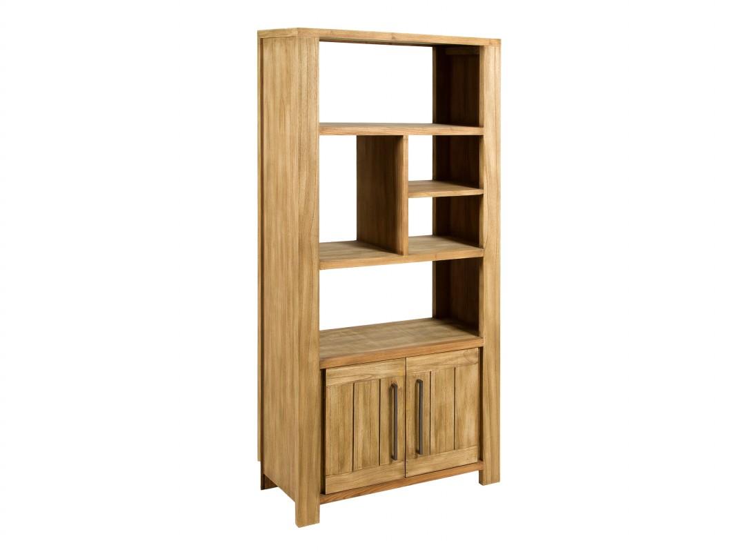 Estanteria rustica de madera de mindi con baldas y puertas - Estanterias madera ...