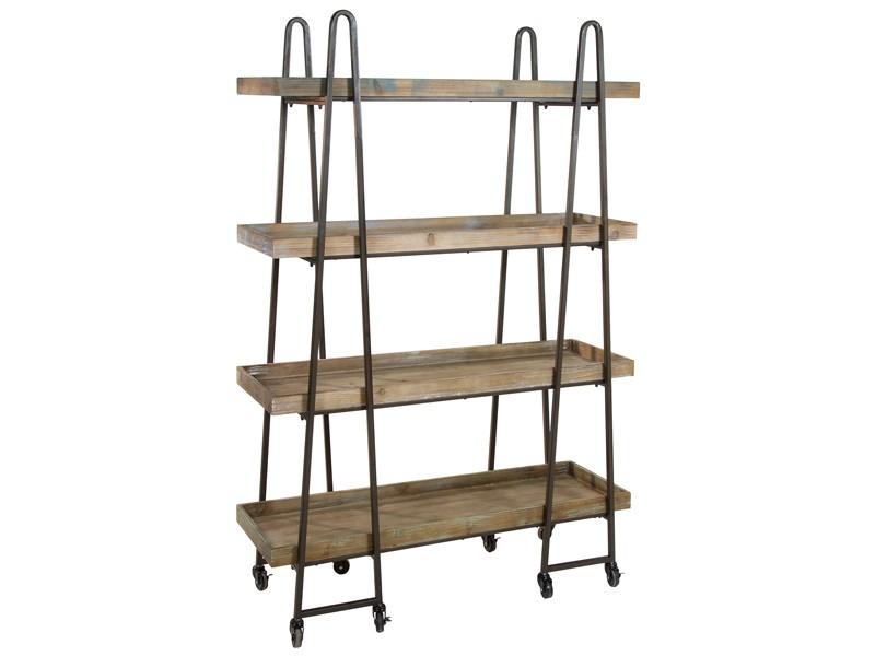 Estanter a vintage de bandejas con ruedas de madera y metal - Estanteria con ruedas ...
