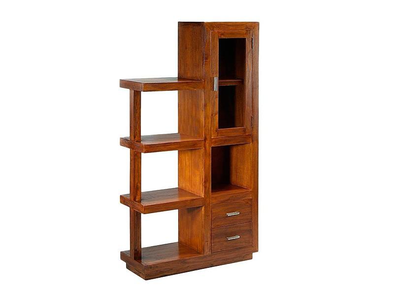 vitrina estanter a madera de acacia color nogal con armario
