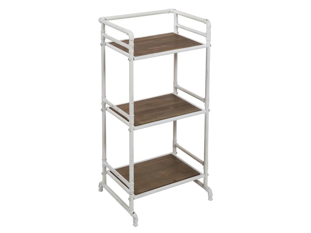 Mini estanter a de hierro blanco y madera estilo industrial - Estanterias pequenas de madera ...
