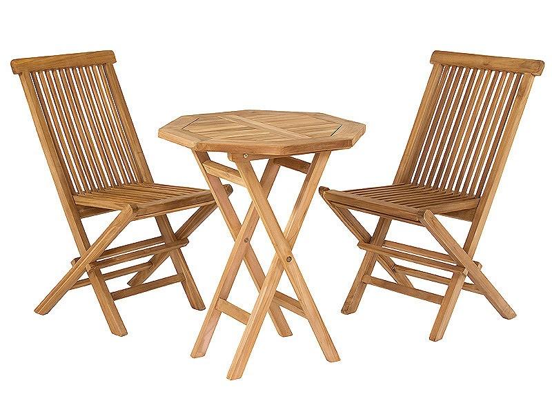 juego de mesa y 2 sillas de madera de teca para jard n