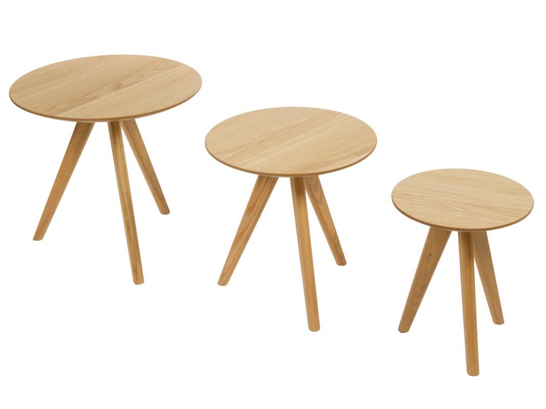 Mesas redondas escalonadas de mdf laminado en roble - Mesas auxiliares redondas ...