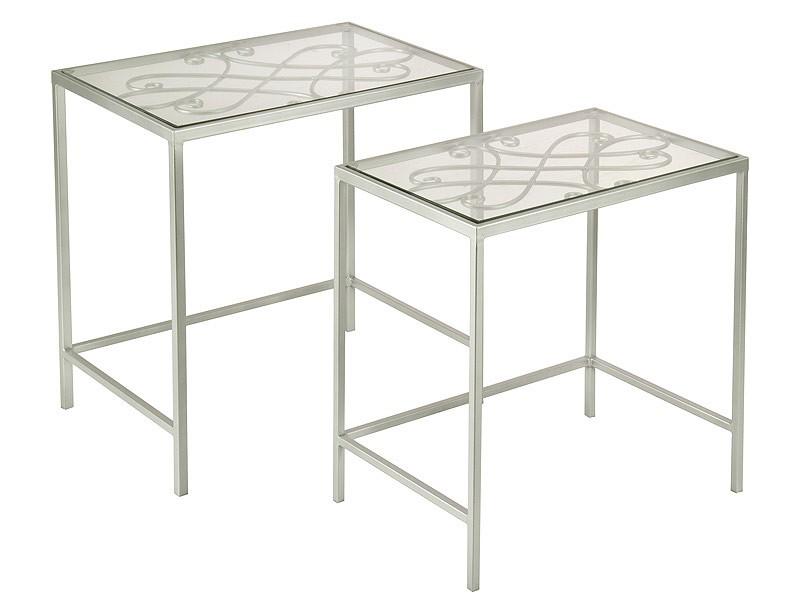 Juego de mesas nido de metal y cristal decoraci n - Mesas nido cristal ...