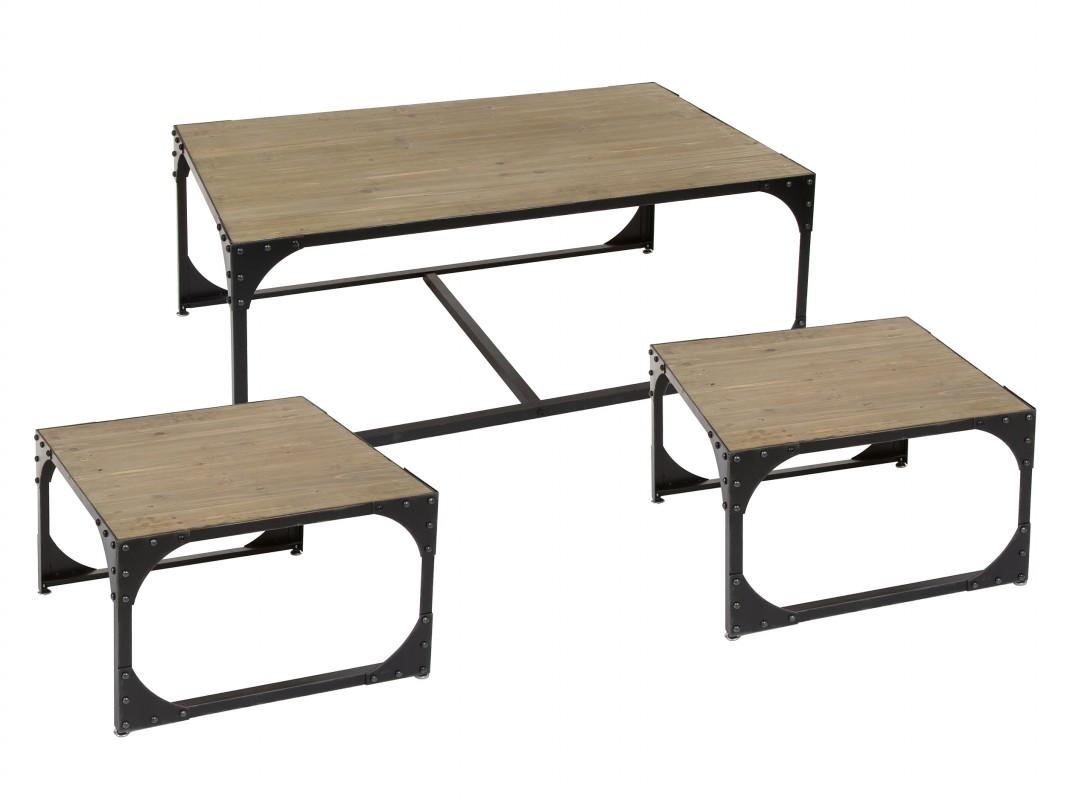 Juego mesas de centro hierro y madera estilo industrial for Mesa de centro industrial