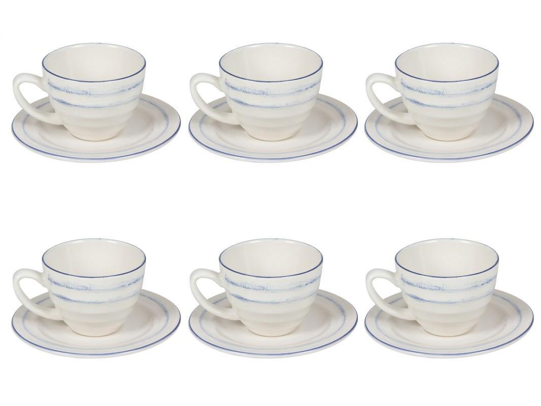 Juego 6 tazas de t con plato b for Juego de tazas de te