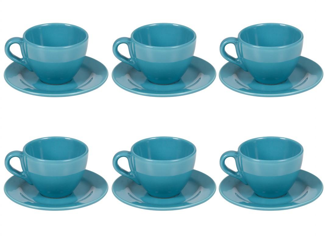 Juego 6 tazas de t con plato azul for Juego de tazas de te