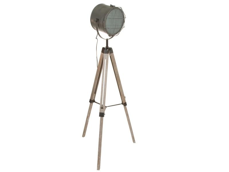 L mpara de pie foco cine de madera y acero color gris - Lampara foco cine ...