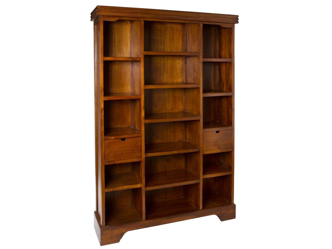 Librer a colonial grande de madera de mindi color nogal - Libreria de madera ...