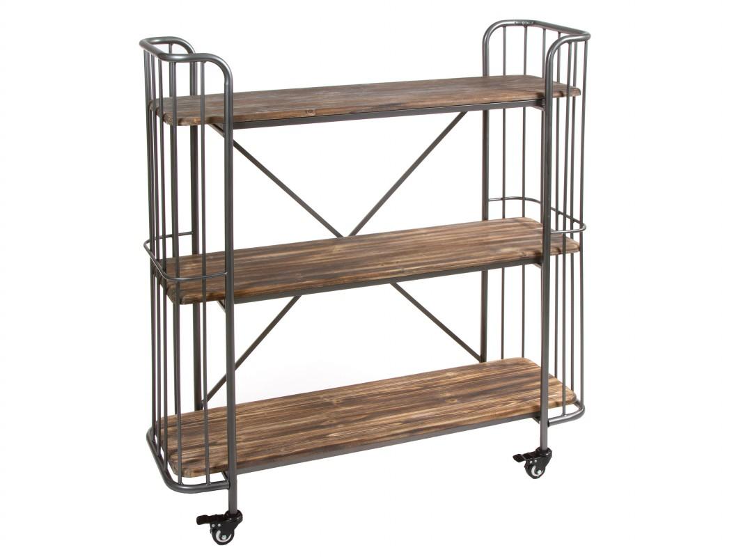 Librer a industrial con ruedas peque a de madera y metal for Libreria estilo industrial