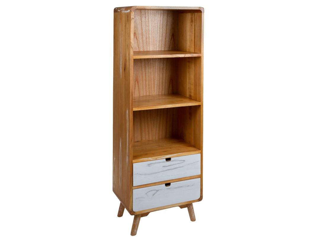 Librería vintage nordica pequeña de madera roble y blanco