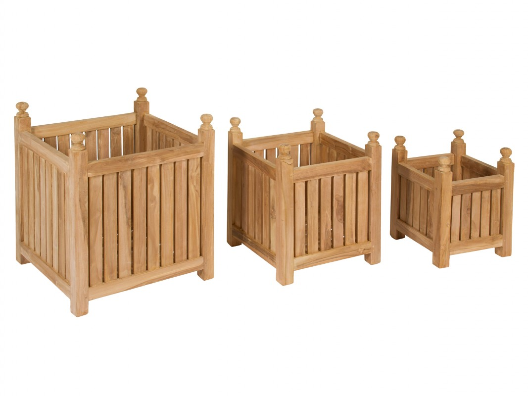 juego de maceteros de madera de teca