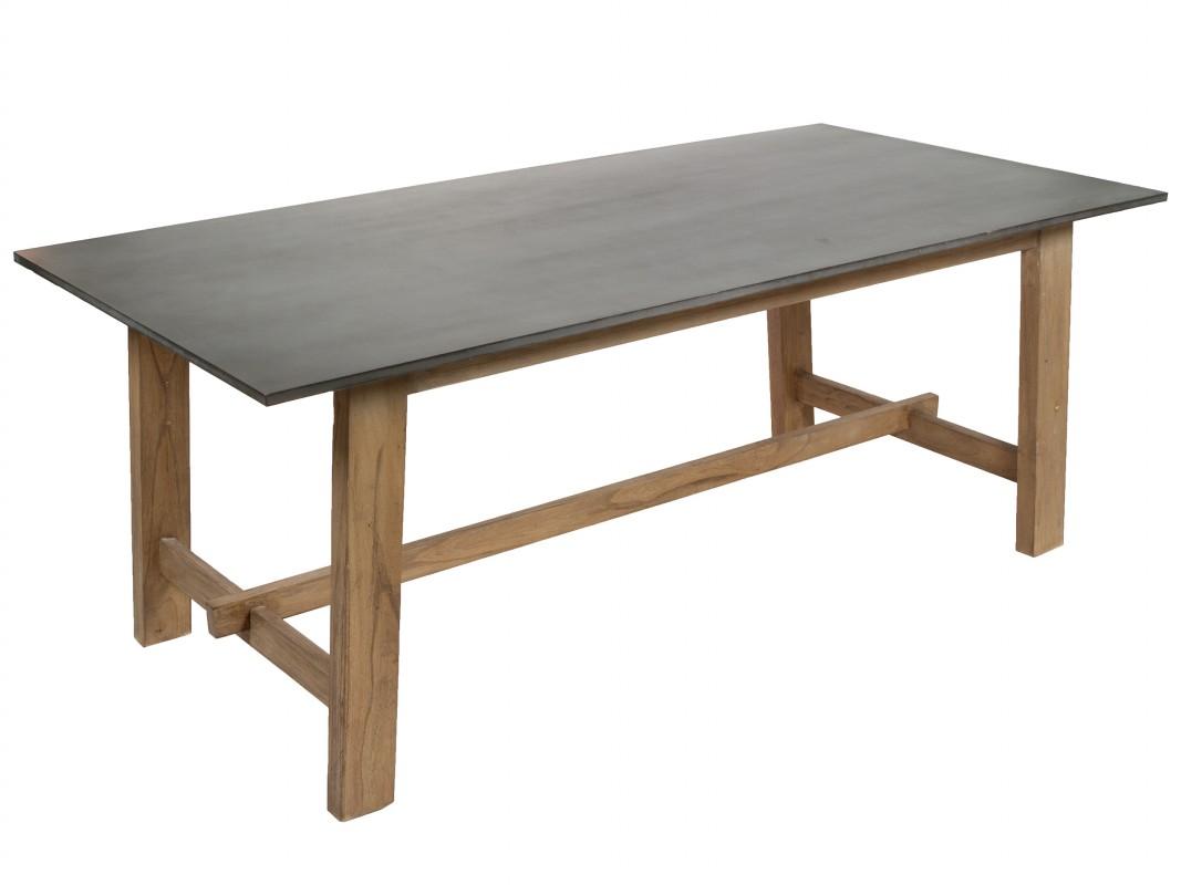 Mesa 2 metros para comedor de madera natural y gris estilo industrial