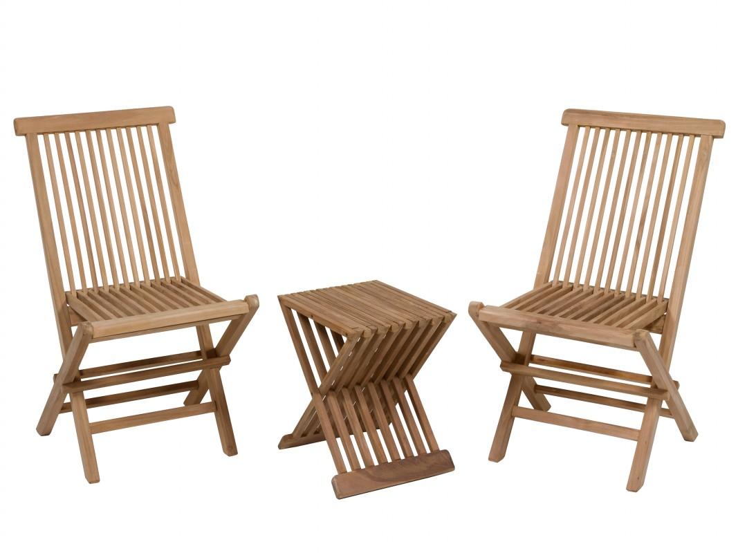 Mesa y 2 sillas de terraza de madera de teca en tono natural for Mesas y sillas para terraza