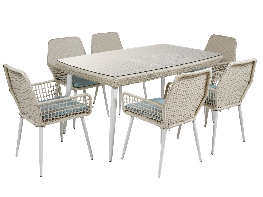Conjunto mesa y 6 sillas para jard n rat n y alimunio for Conjunto de mesa y sillas de jardin