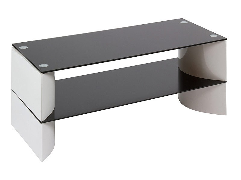 Mesa tv cristal templado con dos estantes y base dm for Mesa cristal templado ikea