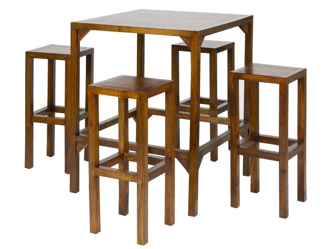 Mesa alta con taburetes en madera de acacia de color nogal for Mesas para bar rusticas