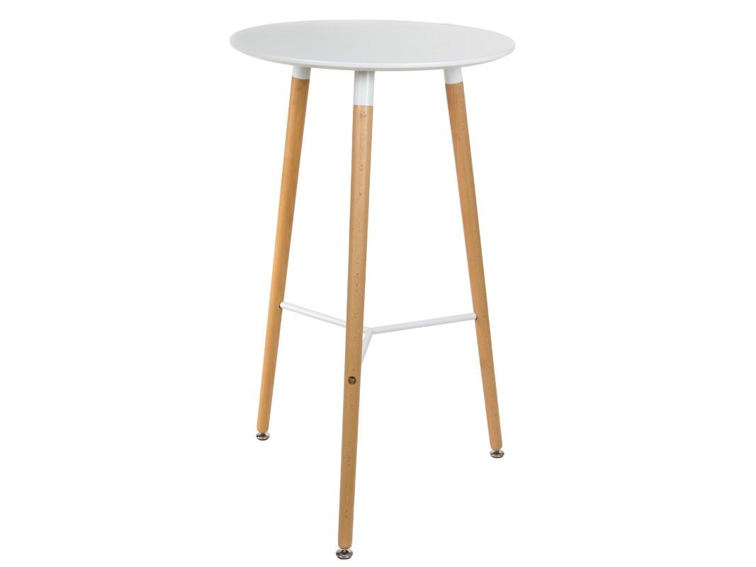 Mesa eames alta y redonda de mdf y madera de haya for Mesa bar de madera