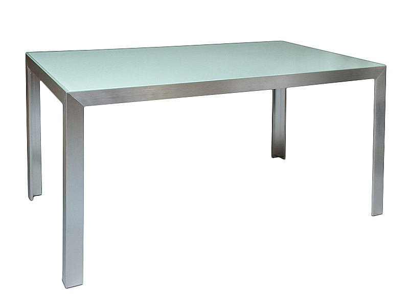 Mesa grande de aluminio y cristal venta mesas de comedor for Mesa cristal exterior