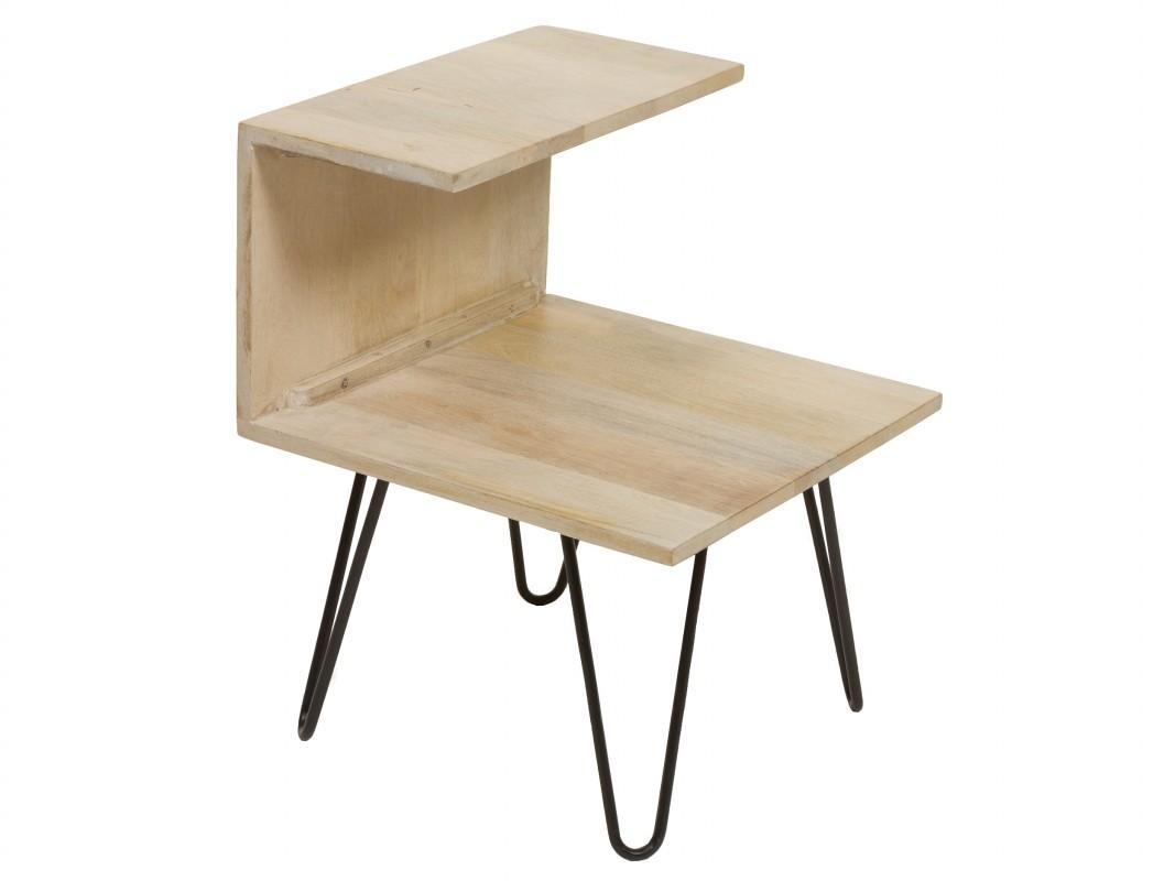 Mesa auxiliar 2 estantes de madera y hierro industrial vintage - Mesas madera y hierro ...