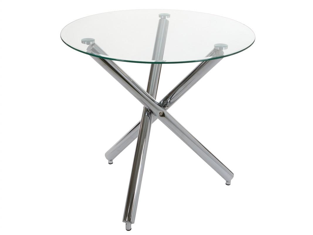 Mesa redonda de cristal peque a con pies de acero inoxidable - Mesa redonda de cristal ...