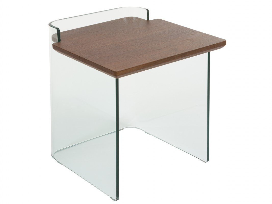 Mesa auxiliar de cristal y dm color nogal estilo contempor neo for Mesas auxiliares de cristal