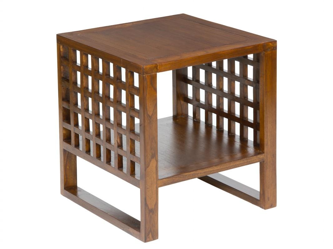 Mesa auxiliar cuadrada madera para sof muebles de sal n for Mesas auxiliares de diseno