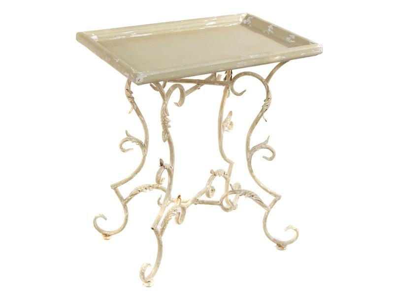 Mesa auxiliar forja envejecida blanca mesas forja online - Mesas de forja y cristal ...