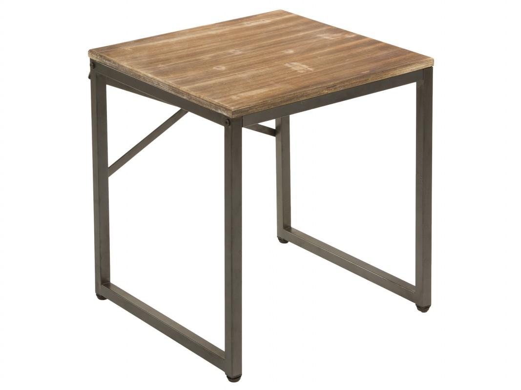 mesa auxiliar baja estilo industrial de metal y madera de