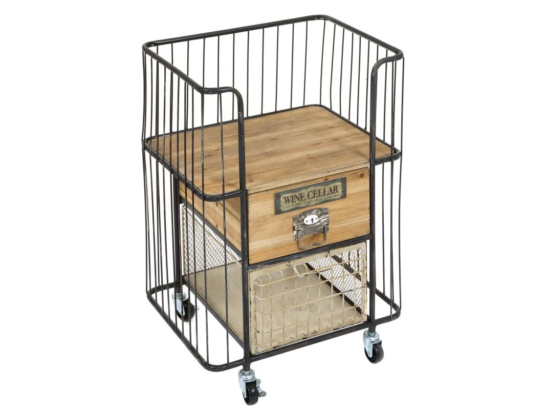 Comprar carrito camarera industrial de forja y madera de abeto for Donde comprar ruedas estilo industrial