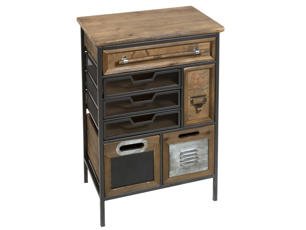 Mueble auxiliar de hierro y madera de abeto estilo industrial for Muebles estilo industrial