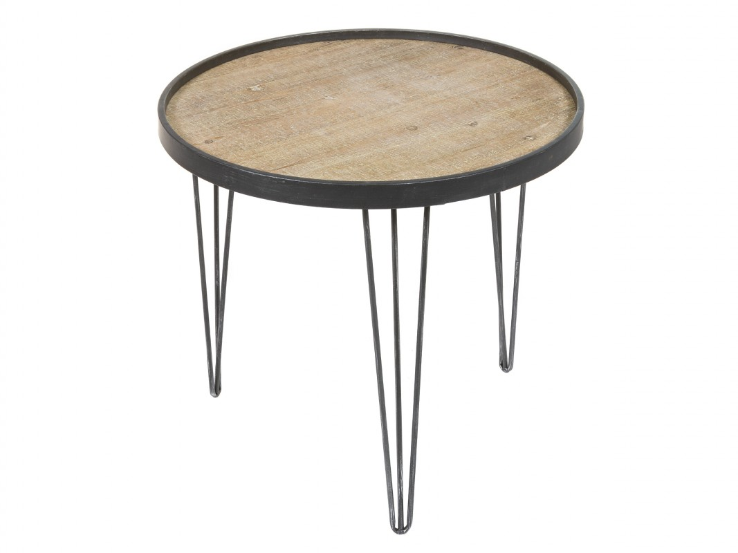 Mesa industrial redonda de forja y madera para sala de estar for Mesa auxiliar industrial