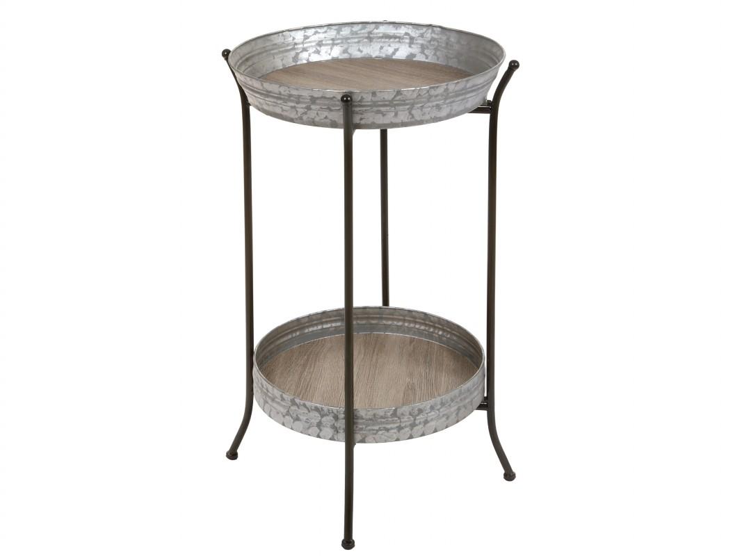 Mesa auxiliar redonda de hierro y madera estilo industrial for Mesa auxiliar industrial