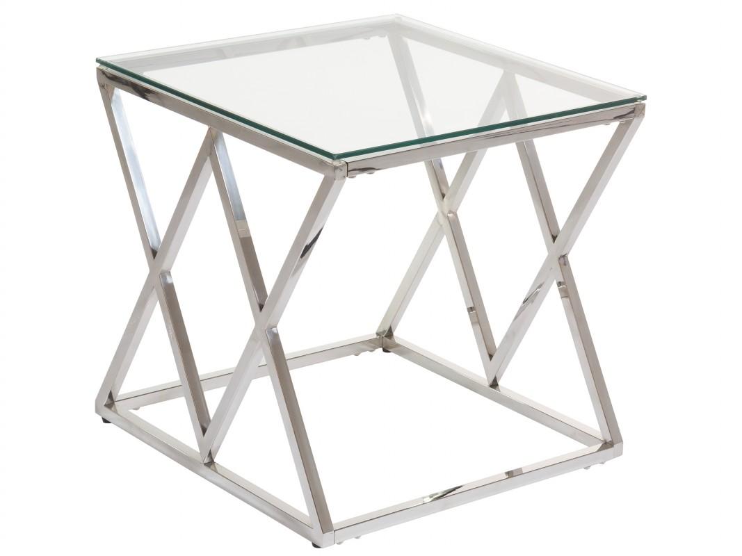 Mesa Auxiliar Moderna Cristal Y Acero