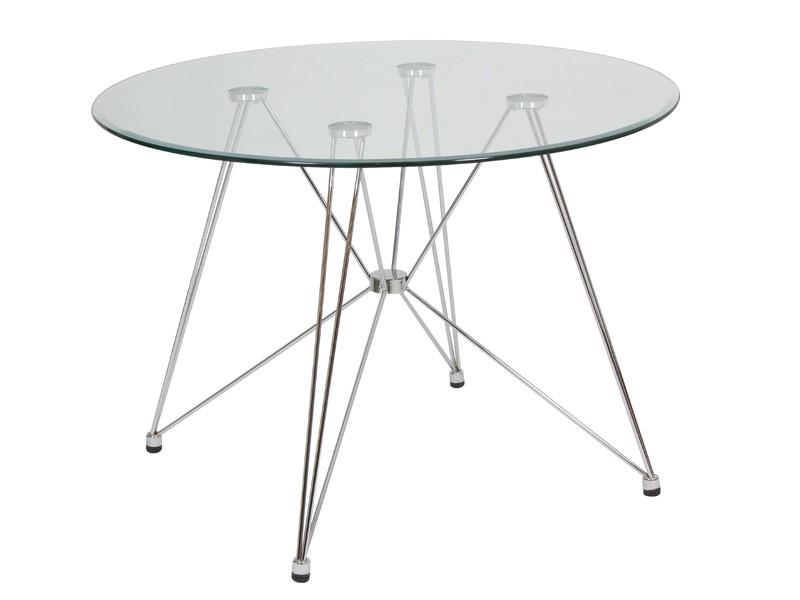 Mesa de cristal redonda venta de mesas auxiliares online for Mesa diseno cristal
