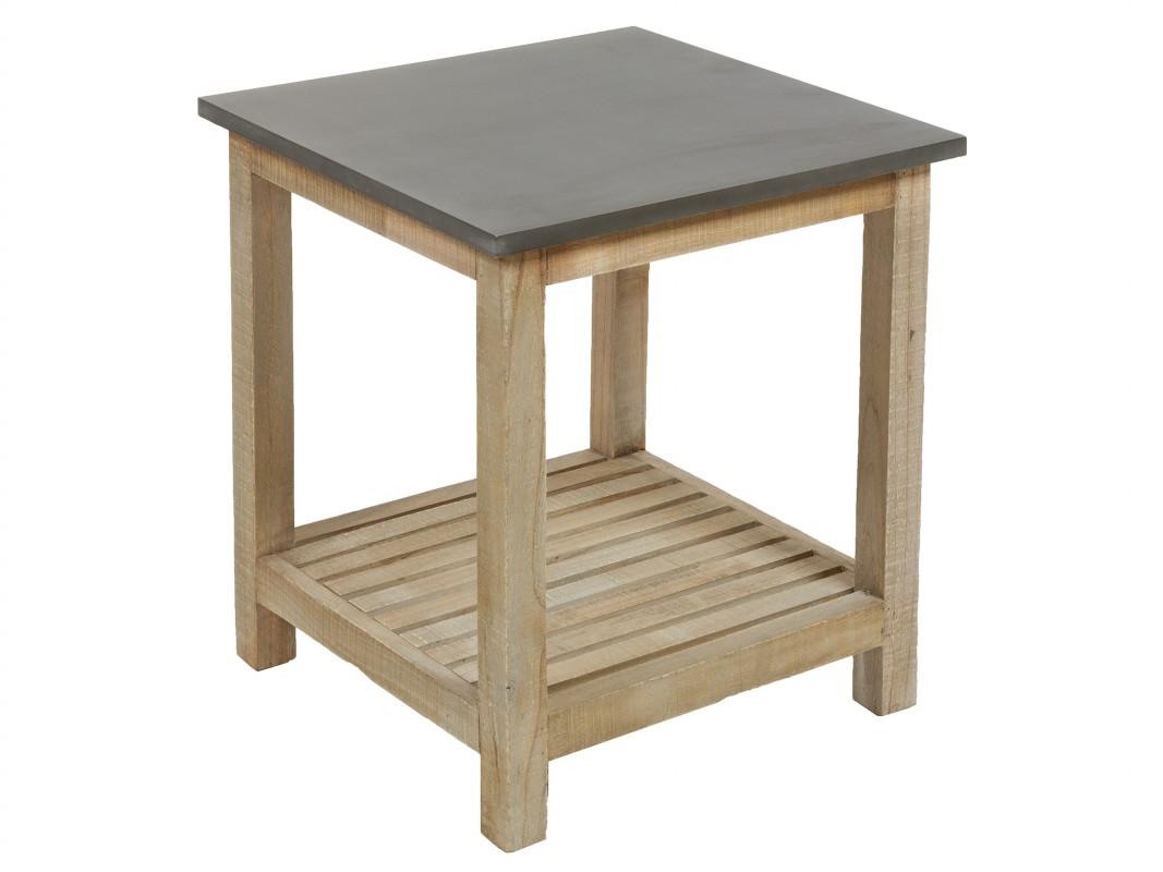 Mesita rinconera vintage madera y gris mesita auxiliar cuadrada - Mesita auxiliar sofa ...