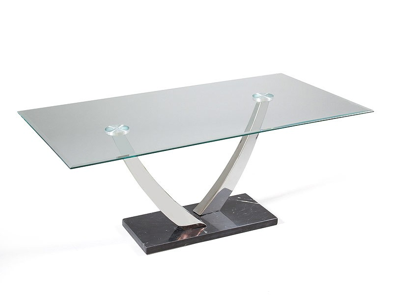 Mesa auxiliar para sal n de cristal y m rmol for Mesas de salon de cristal