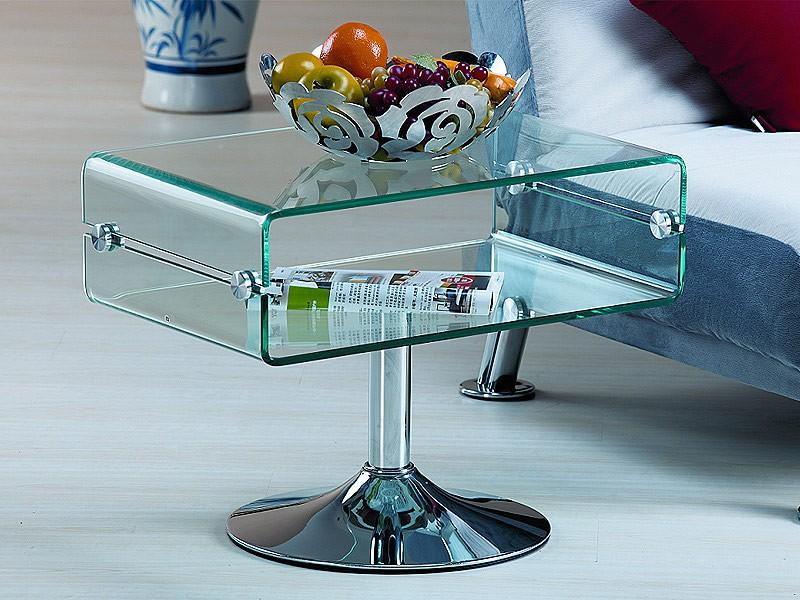 Mesa auxiliar de vidrio transparente mesas para sal n for Mesa auxiliar salon