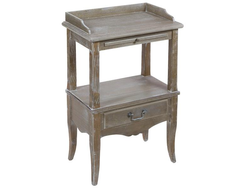 Mesa de telefono vintage con 2 estantes y 2 cajones - Mesa auxiliar con cajones ...