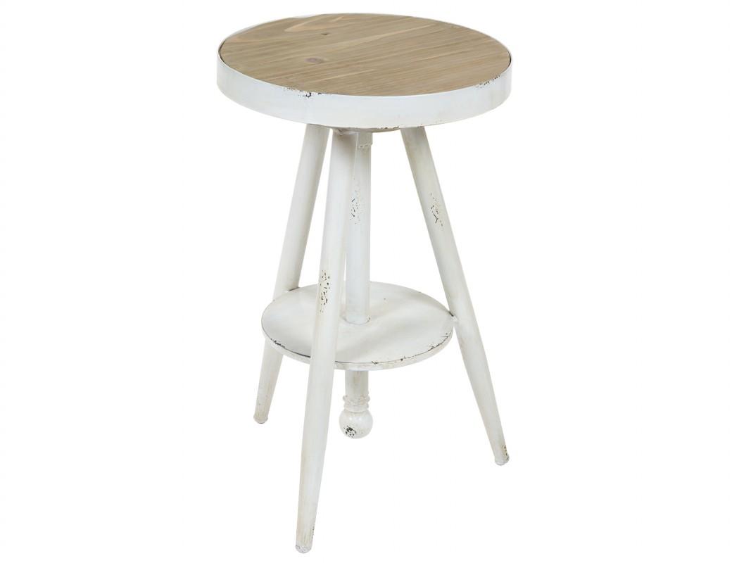 Mesa auxiliar redonda vintage de hierro blanca con tablero de madera - Mesa auxiliar redonda ...