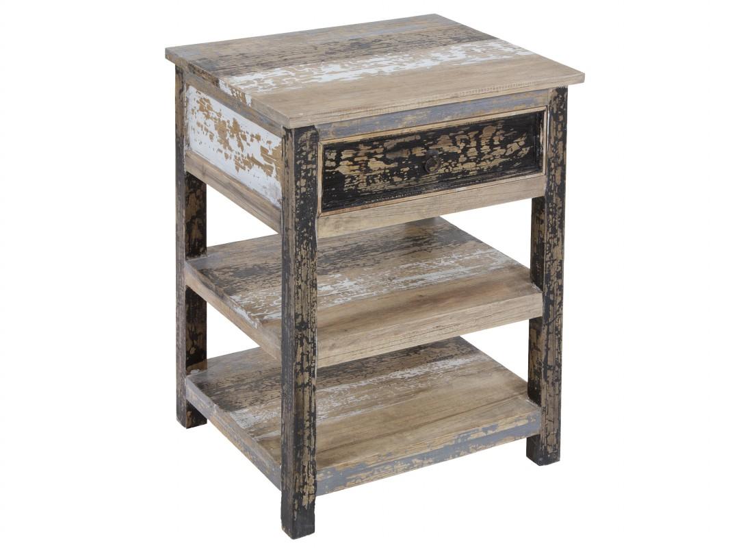 Mesa auxiliar vintage de madera decapada con 2 baldas for Mesa vintage madera